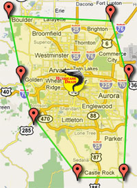 Hurricane Drain and Plumbing Denver metro area locations map